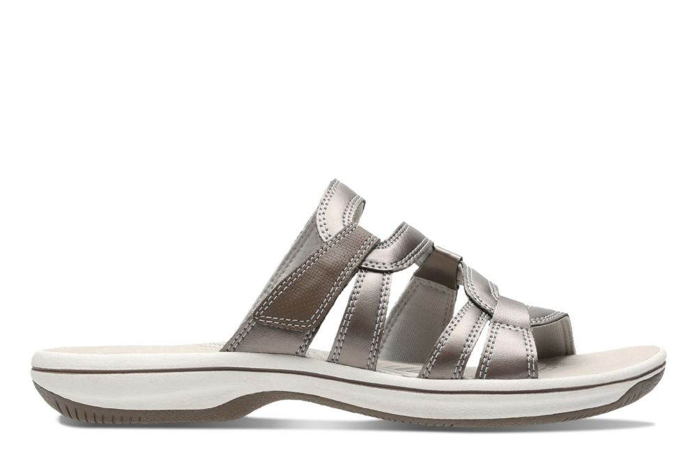 0fe20f737428 Clarks Womens Brinkley Lonna Pewter Synthetic Sandals